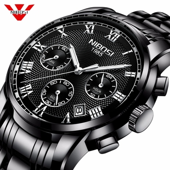 NIBOSI Mens Watches Top Brand Luxury Quartz Watch Men Casual Waterproof Full Steel Sport Wrist Watch Hombre Relogio Masculino