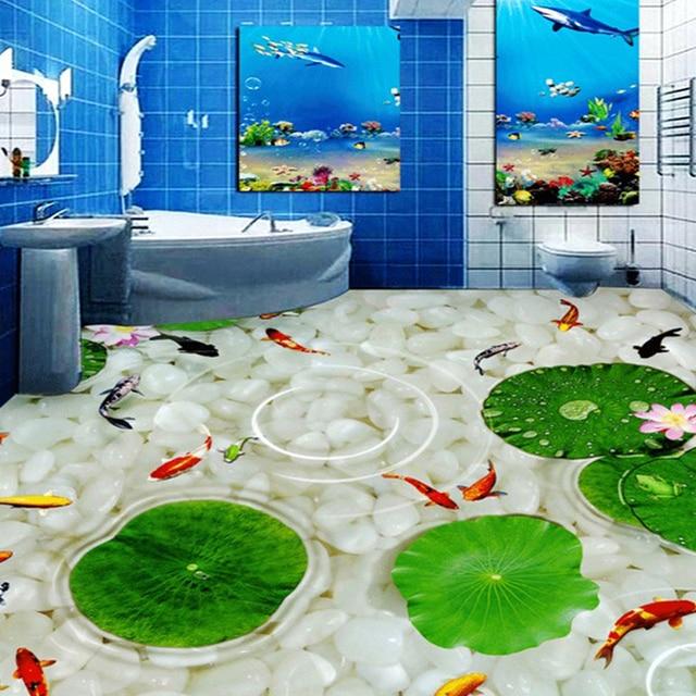Nach 3D Boden Wandbild Vinyl Tapete Lotus Blatt Steine Bad Küche ...