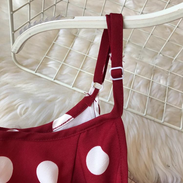 Women Beach Red Dress 2019 Summer New Seaside Holiday Sleeveless Dot Print Casual Vestidos E496 60