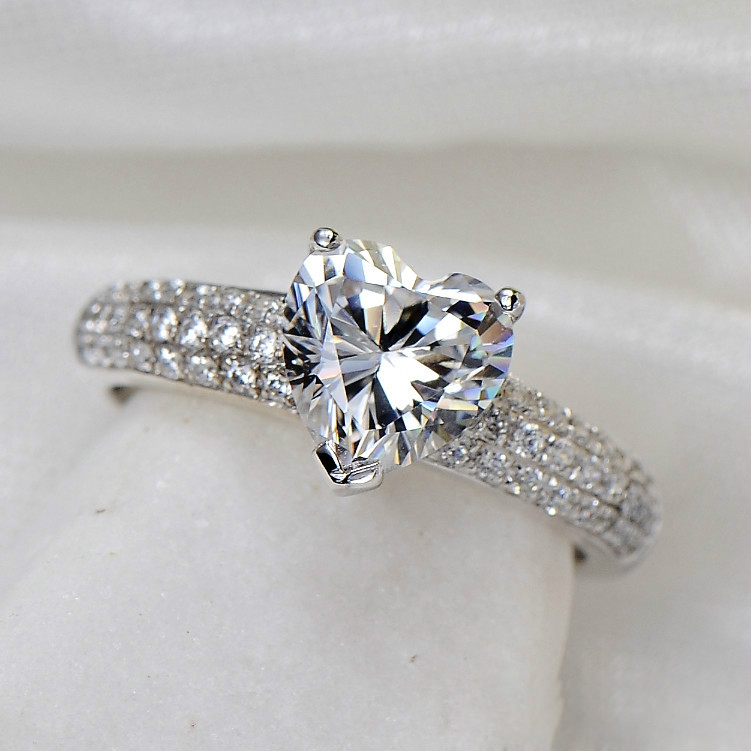 2Ct Paved Heart Shape Stunning Synthetic Diamonds Ring for Women ...