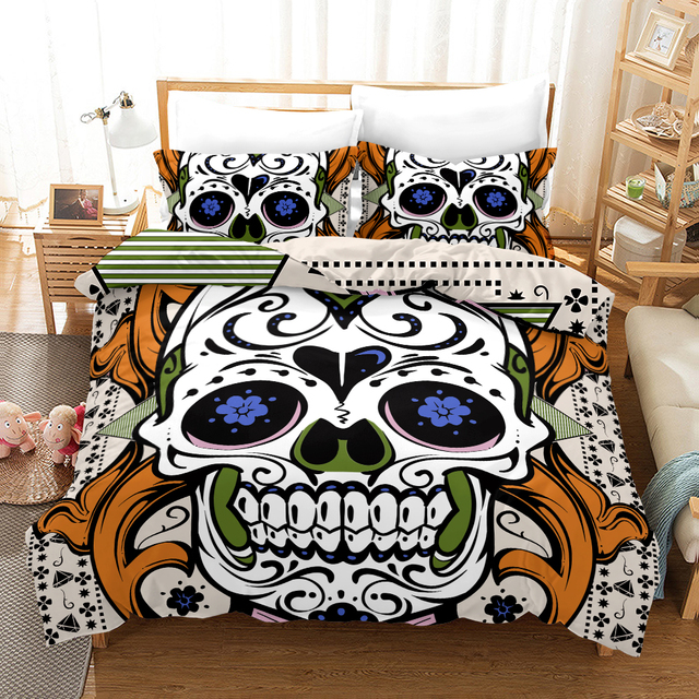 Fanaijia Sugar Skull Bedding Se Luxury Queen Duvet Cover with Pillowcase Set King Comforter Set Bed Linen