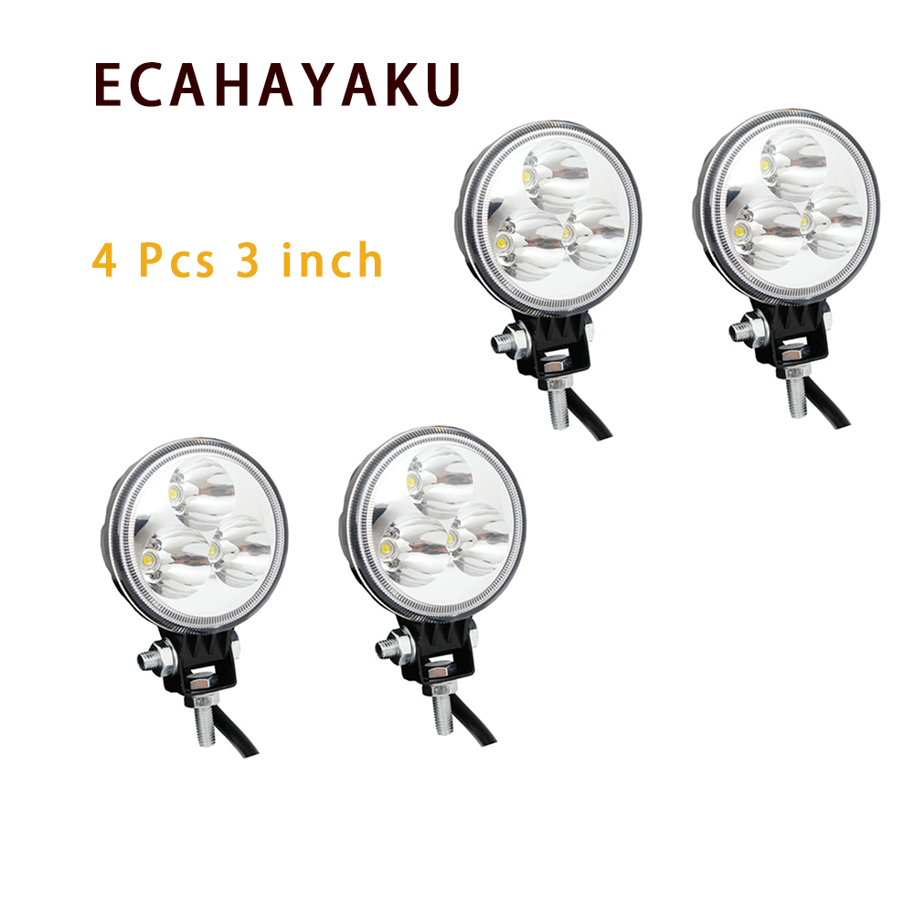 ECAHAYAKU 4Pcs  9W round Car LED Offroad Work Light for 4x4 4WD AWD SUV ATV Truck 12v 24v Motorcycle Fog Lights driving light