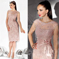 Pink 2019 Mother Of The Bride Dresses Sheath Cap Sleeves Lace Crystals Short Wedding Party Dress Mother Dresses For Wedding