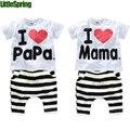 LittleSpring Retail Niños ropa conjuntos verano amo Mamá papá traje de algodón ropa de los niños traje de manga Corta niños ropa