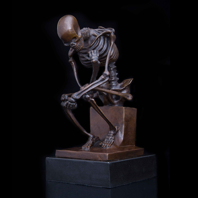 BRONZE COPPER BRASS SKELETON SKULL SCULPTURE