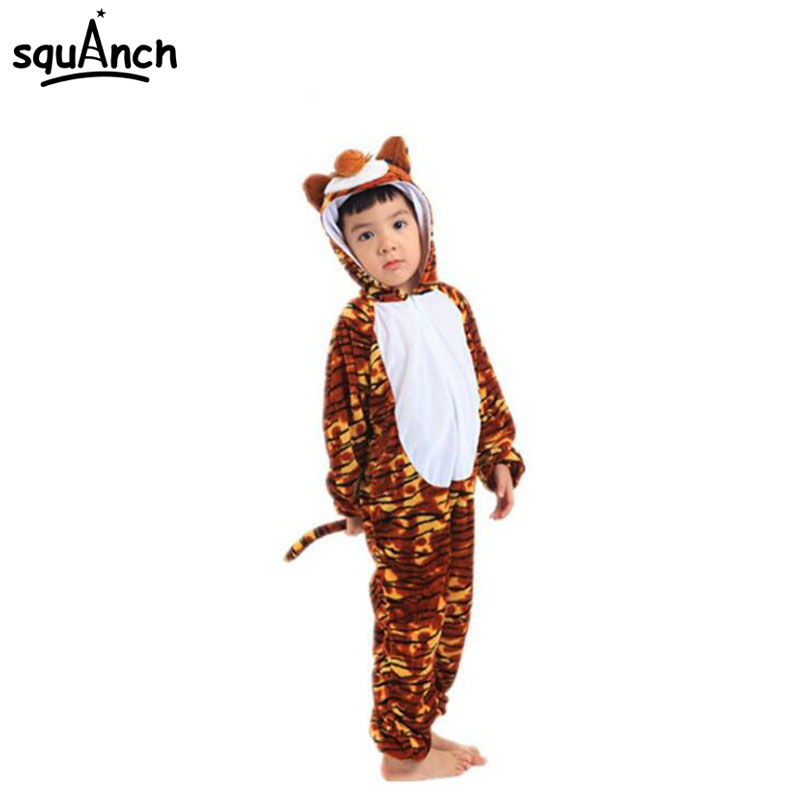 Child Onesie Cartoon Animal Cosplay Costume Onepiece Long Sleeve Jumpsuit Pajama Kids School Student Show Performance Fantasias
