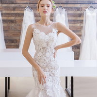 Vestidos De Novia Sexy Backless Mermaid Wedding Dress 2017 Lace Appliques Robe De Mariage Chapel Train