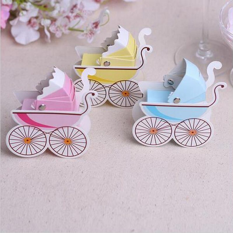 50pcs Baby Carriage Gift Box with Ribbon Sweet Gift Chocolate Paper Candy Bags Birthday Bear Decoration Beautiful Gift for Guest