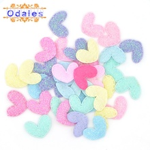 60Pcs Kawaii Glitter Little Heart Patches 2CM Padded Appliques for Clothes Sewing Supplies DIY Craft Decoration