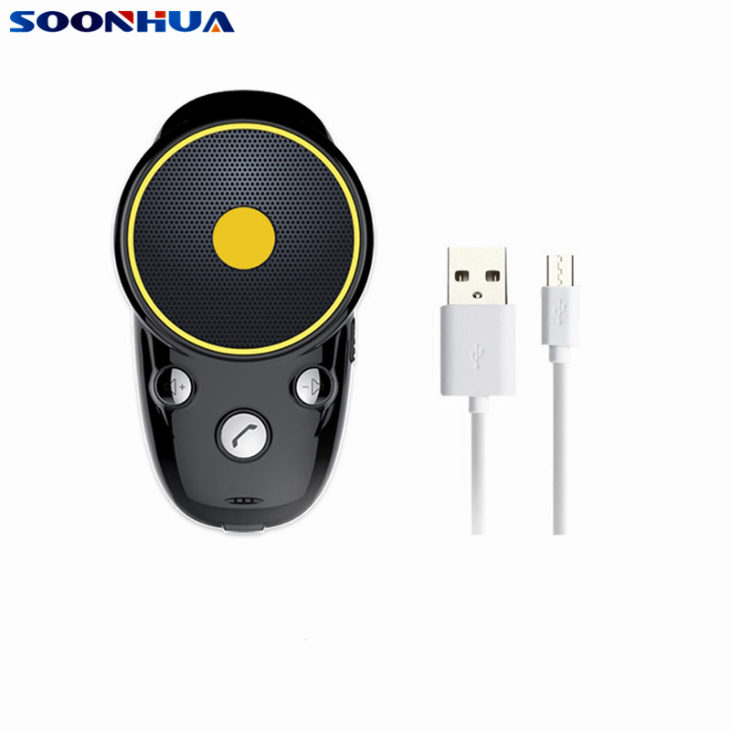 SOONHUA Portable Wireless Bluetooth Speaker Receiver Audio Speaker Sun Visor Auto Connection Handsfree Intelligent Voice Prompt