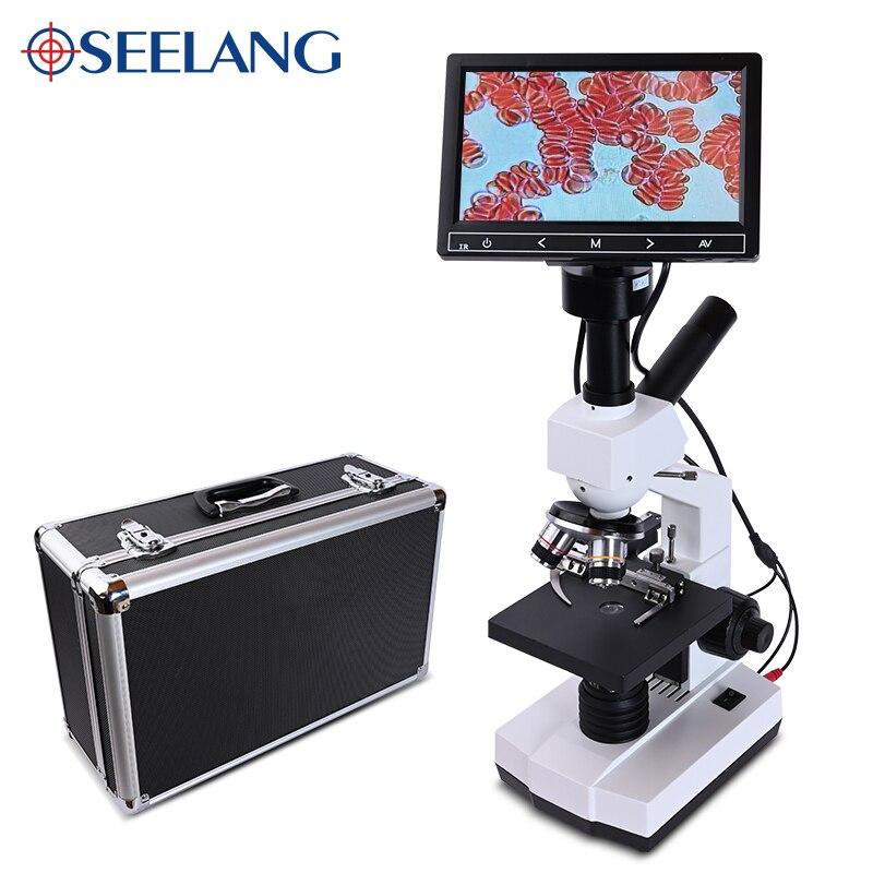 Professional Blood Cells 5MP HD Digital Binocular Biological Lab Microscope USB Led +7-inch LCD + Electronic Eyepiece +Metal Box