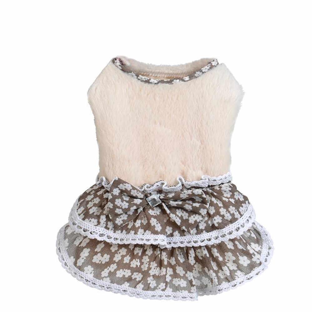 TranserDrop ShippingPet собака кошка зима пальто щенок Теплый бант свитер с камнем юбка CostumeDrop доставка J24e30