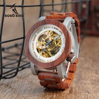 BOBOBIRD K12 Red Sandalwood Steel Exposed Mechanical Watch Vintage Bronze Skeleton Clock Male Antique Steampunk Casual