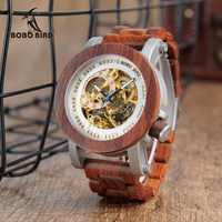 BOBO ptak zegarek relogio masculino mężczyźni automatyczne zegarki mechaniczne drewna rocznika duży rozmiar męska prezent reloj hombre