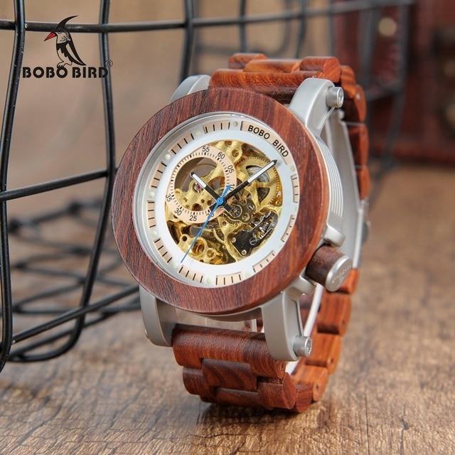 BOBOBIRD K12 Sándalo Rojo y Acero Expuesto Antique Steampunk Esqueleto Reloj Mecánico de Bronce de La Vendimia Reloj Masculino Ocasional Automática