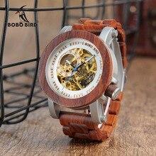 Relogio Masculino Bobo Vogel Horloge Mannen Automatische Mechanische Horloges Hout Vintage Big Size Mannen Gift Horloge Reloj Hombre