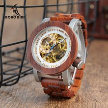Relogio masculino בובו ציפור שעון גברים אוטומטי מכאני שעונים עץ בציר גדול גודל גברים של מתנת שעוני יד reloj hombre