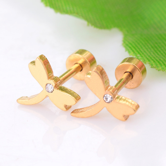 Stainless Steel Dragonfly Earring Gold Color Men Stud Never Fade 035
