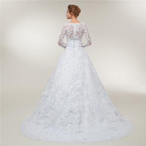 Image 4 - Fansmile Long Sleeves Lace Vestido De Noiva Wedding Dresses 2020 Train Custom made Plus Size Wedding Gowns FSM 403T