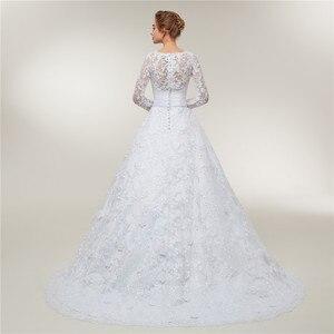 Image 4 - Fansmile Vestido De novia De encaje De manga larga, vestidos De novia hechos a medida, De talla grande, FSM 403T, 2020