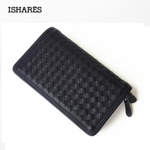 ISHARES Brand new men genuine leather casual zipper clutch cowhide leather weave woven handbag wallet  male 22*12*3.5cm IS6048