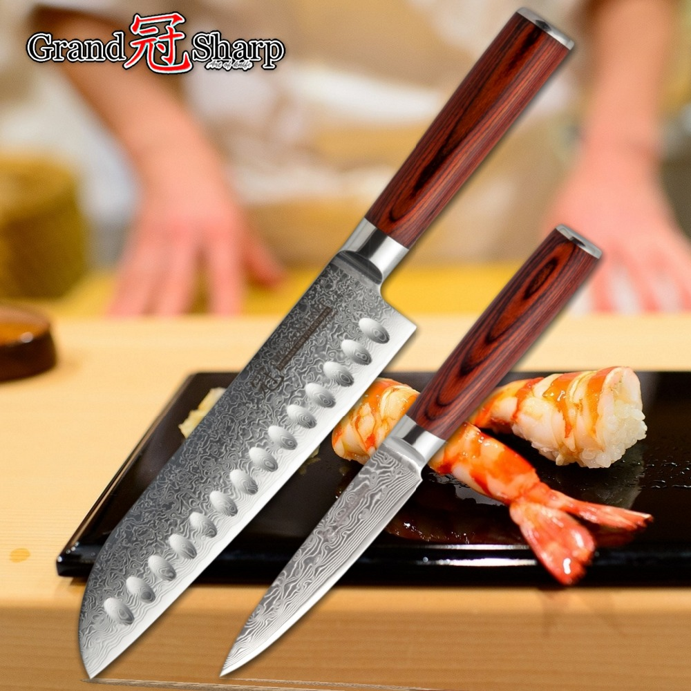 japanese damascus set of steel kitchen kives knife kit chef Paring santoku VG10 professional cooking sowoll forged knife
