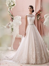 Beautiful New Design See Through Back Lace Appliques Wedding Dress 2015 With Crystal Belt