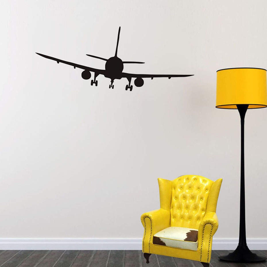 Cool Airliner Airplane Silhouette Wall Stickers Home Decor Living Room Bedroom Decor Vinyl Decals For Kids Home Decoration