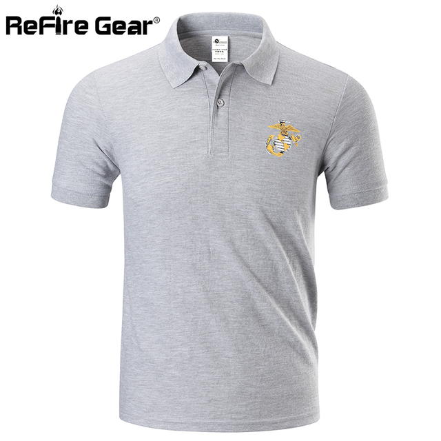 64e0607cfca Casual Summer US Marine Corps Print Army Polo Shirt Men Military Style  Tactical Polo Breathable Solid Cotton Short Sleeve Polos