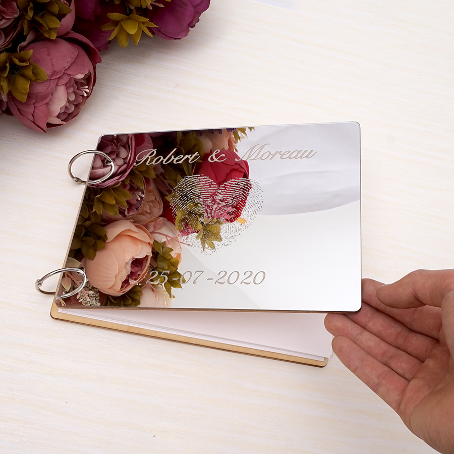 """A4 Custom Wedding Mirror Guest Book Personalized Heart Finger Wooden Blank White Photo Scrapbook 50 Pages 11.4"""" Party Guest Gift"""