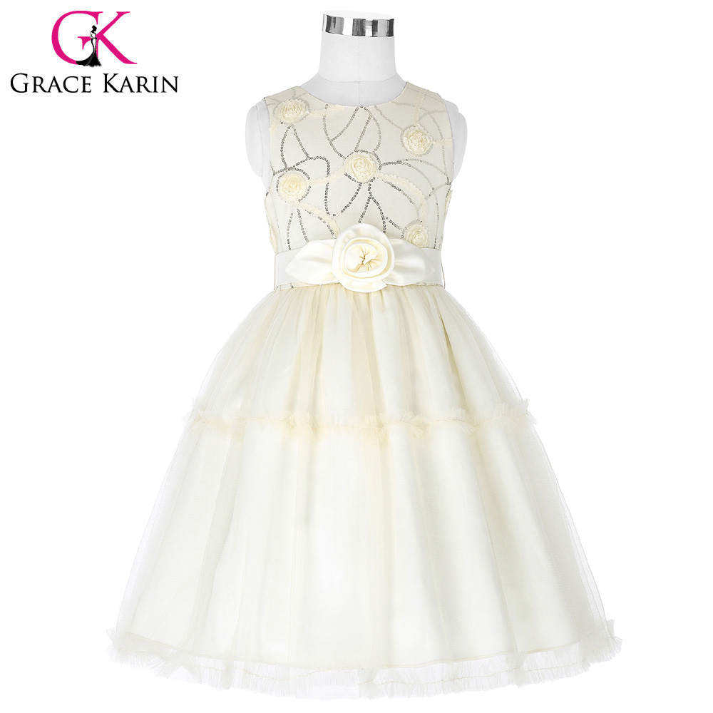 Grace Karin Ivory   Flower     Girl     Dresses   2018 Sequins Tulle Ball Gown Kids Wedding Party   Dress   First Communion   Dresses   For   Girls