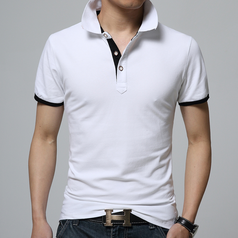 2018 Summer Men's White   POLO   . Fashion Mixed Color Short-sleeved   POLOS   . High Quality Cotton Breathable Comfort   POLO   Shirts Male