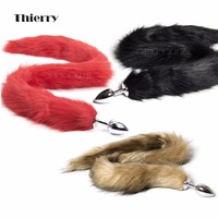 Thierry Adult games 4 colors Artificial long Tail Butt Plug Animal Tail Metal Anal Sex Toys Roleplay Flirting Sex Toys For Woman