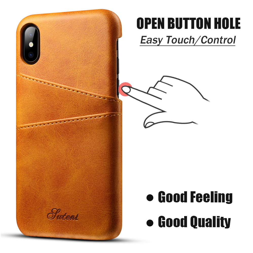 KIPX1014_4_Slim Leather Back Cover For iPhone X Cow Case Ultra Thin Wallet Card Holder Back Covers For iPhone 10