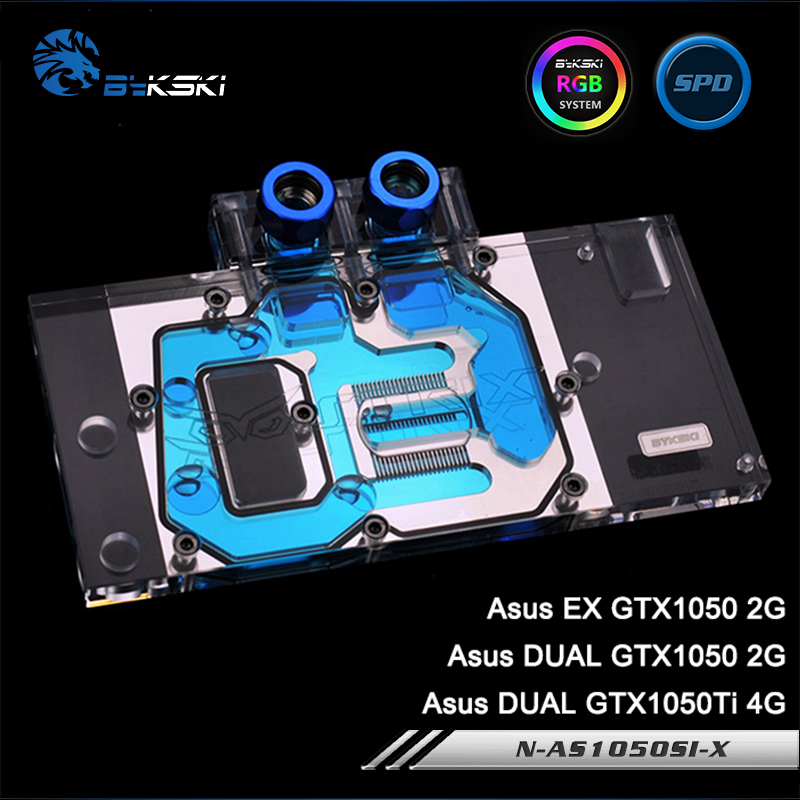 Bykski N-AS1050SI-X Full Cover Graphics Card Water Cooling Block RGB/RBW/ARUA for ASUS DUAL GTX1050TI/GTX1050, EX GTX1050 bykski n ms1050 x full cover graphics card water cooling block rgb rbw arua for msi geforce gtx1050 1050ti windforce 2g