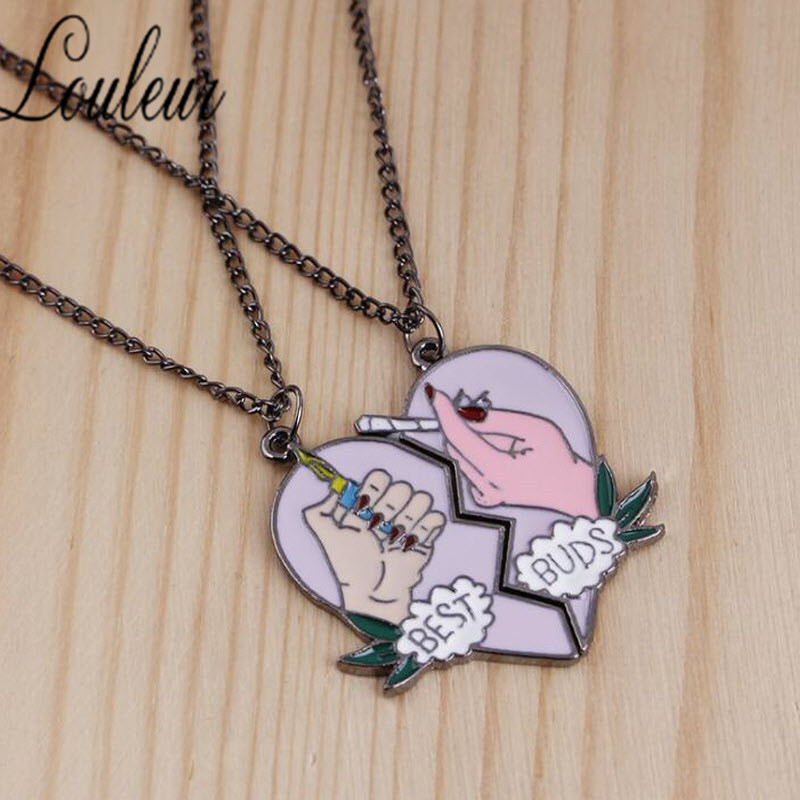 New 2pcs/Set Splice Best Friends Forever Couple Necklace Buds Lighter and Cigarettes Broken Heart Shape Pendant
