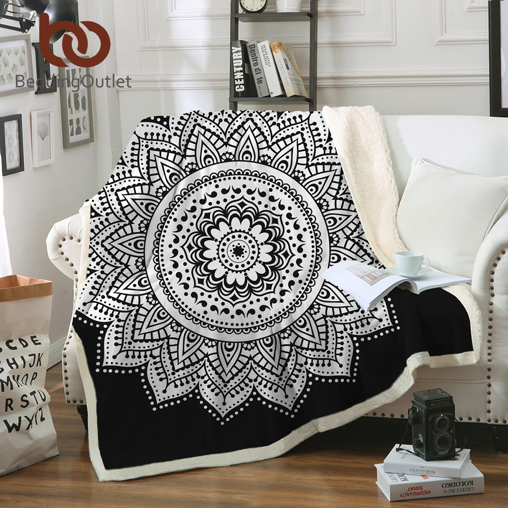 Strange Us 14 9 40 Off Beddingoutlet Soft Velvet Plush Throw Blanket Mandala Print Floral Sherpa Blanket For Couch Black And White Boho Throw Travel In Gmtry Best Dining Table And Chair Ideas Images Gmtryco
