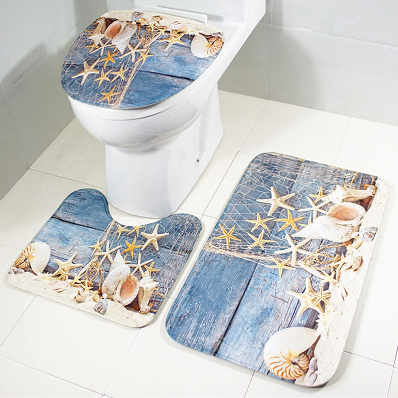 Bathroom Set Soft Foam Toilet Bath Rug Sets Beach Pattern Anti Slip Rug HG99 ...