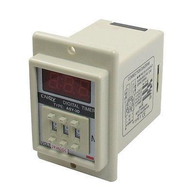 White AC/DC 24V Power on Delay Timer Time Relay 1-999 Minute 8 Pins ASY-3D