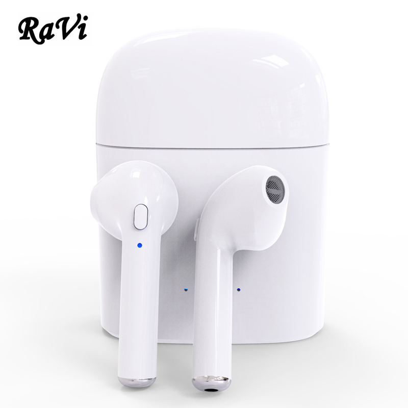 RAVI True Wireless Bluetooth Earphone Twins Headset Earbuds Sports Earpiece Earphones with Mic For iPhone Android fone de ouvido ttlife mini bluetooth earphone usb car charger dock wireless car headphones bluetooth headset for iphone airpod fone de ouvido