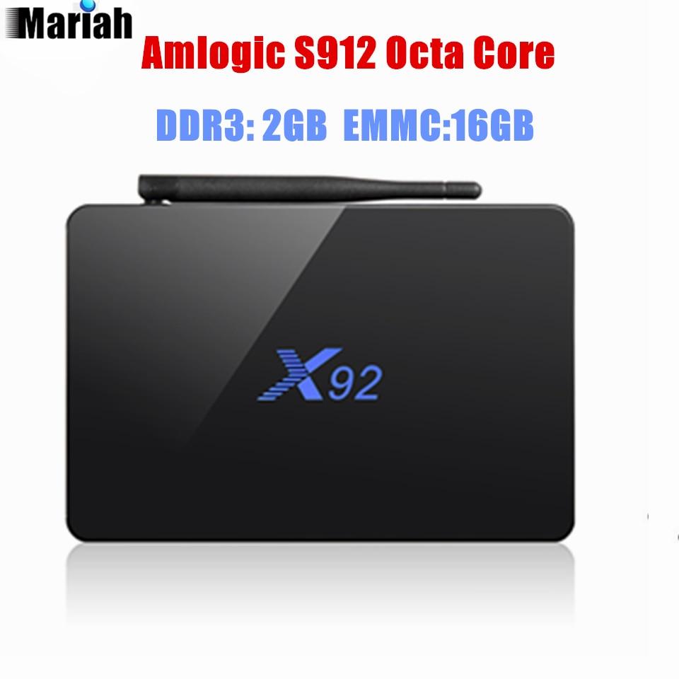 X92 S912 64 bits Octa Core TV CAJA 2 GB + 16 GB Bluetooth Wifi atenna Flixster M
