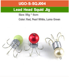 lead head squid fishing jig