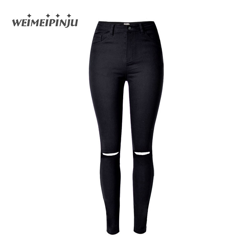 High Waist Skinny Fashion Jeans For Women Autumn Boyfriend Black Jeans Ripped Hole For Girls Slim Soft Cotton Denim Pencil Pants 2016 new fashion high waist big hole ripped jeans for women slim pencil pants full length black clp052