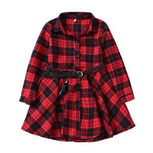 Image 2 - Elegant Girls Casual Long Sleeve Plaid Shirt Dress With Belt Fashion Teenager Blouse Dresses 4 5 6 7 8 9 10 11 12 13 Years Old