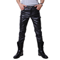 2016 Hip Hop Mens Leather Pants Faux Leather Pu Material 3 Colors Motorcycle Skinny Faux Leather
