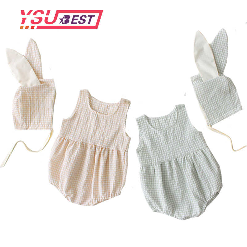 0-3Y New Born Baby Clothes Summer Baby Girl Sleeveless Jacket 2019 Baby Bodysuits Baby Girl Clothes Jumpsuit Cartoon Rabbit Ears