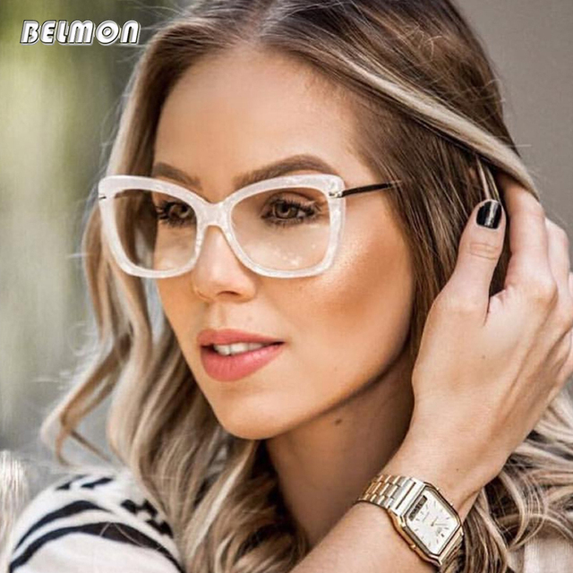 7b8d3ca6ad85 Spectacle Frame Women Eyeglasses Computer Myopia Optical For Female Vintage Ladies  Eyewear Clear Lens Glasses Frame