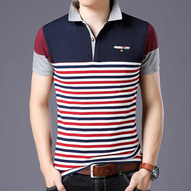 Style Striped 2019 Brand Fashion Polo Shirts Short Sleeve Men Summer Cotton Breathable Tops Tee ASIAN SIZE M-5XL