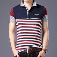 Estilo listrado 2019 marca moda polo camisas de manga curta masculina verão algodão respirável topos t tamanho asiático M 5XL