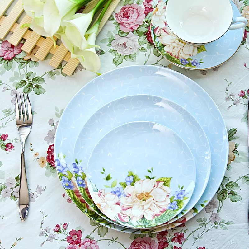 Blue and pink Floral Dinnerware set tableware bone china 10.5 inch dinner plate 8 inch salad plate 6 inch dessert plate dish